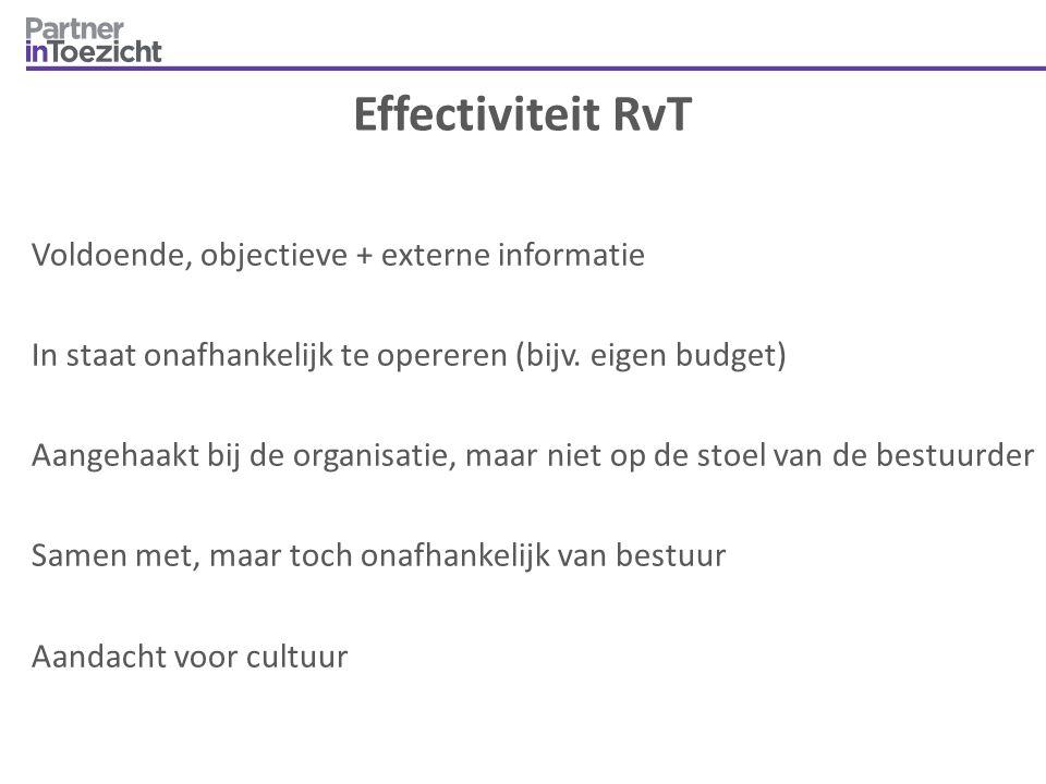 Effectiviteit RvT Voldoende, objectieve + externe informatie In staat onafhankelijk te opereren (bijv. eigen budget) Aangehaakt bij de organisatie, ma