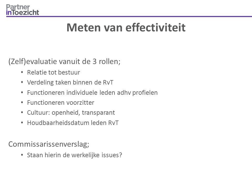 Meten van effectiviteit (Zelf)evaluatie vanuit de 3 rollen; Relatie tot bestuur Verdeling taken binnen de RvT Functioneren individuele leden adhv prof