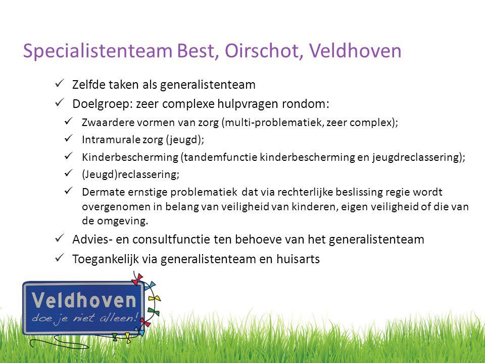 Specialistenteam Best, Oirschot, Veldhoven Zelfde taken als generalistenteam Doelgroep: zeer complexe hulpvragen rondom: Zwaardere vormen van zorg (mu