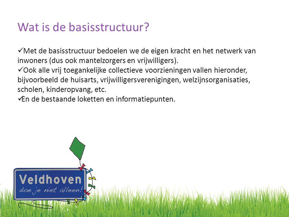 Wat is de basisstructuur? Met de basisstructuur bedoelen we de eigen kracht en het netwerk van inwoners (dus ook mantelzorgers en vrijwilligers). Ook