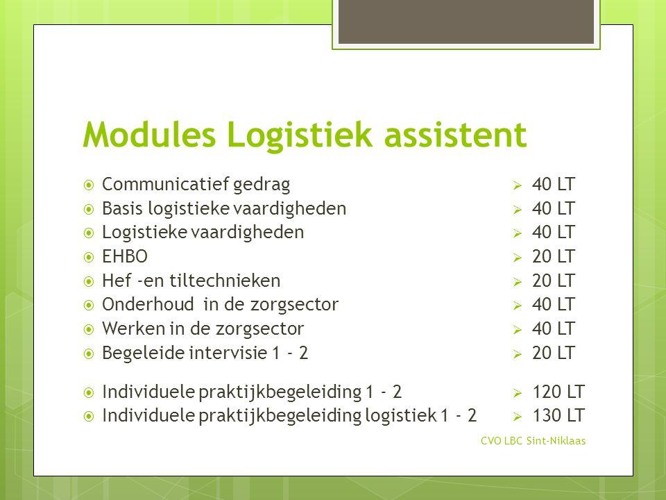 Modules Logistiek assistent CVO LBC Sint-Niklaas  Communicatief gedrag  Basis logistieke vaardigheden  Logistieke vaardigheden  EHBO  Hef -en til
