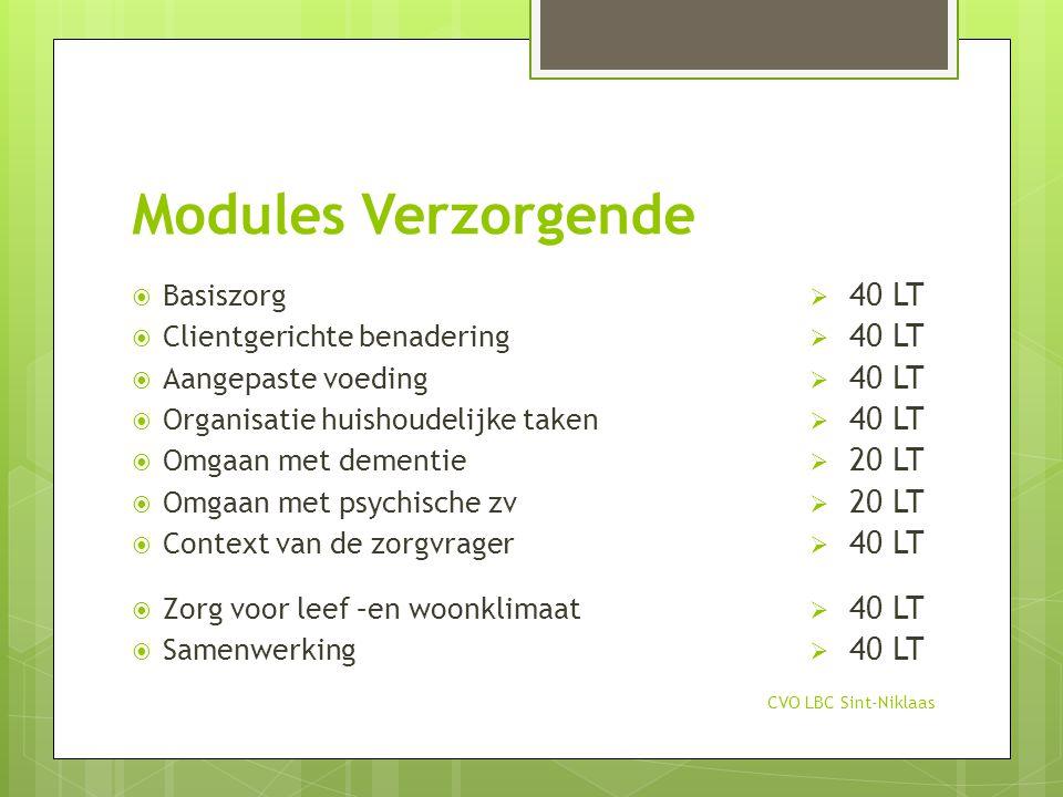 Modules Verzorgende CVO LBC Sint-Niklaas  Basiszorg  Clientgerichte benadering  Aangepaste voeding  Organisatie huishoudelijke taken  Omgaan met