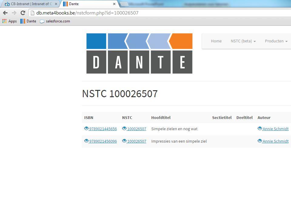132.000 ISBN's zijn aangeboden aan het algoritme 51.000 ISBN's hebben een NSTC gekregen De rest zijn enkele titels