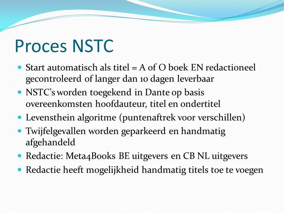 Proces NSTC Start automatisch als titel = A of O boek EN redactioneel gecontroleerd of langer dan 10 dagen leverbaar NSTC's worden toegekend in Dante