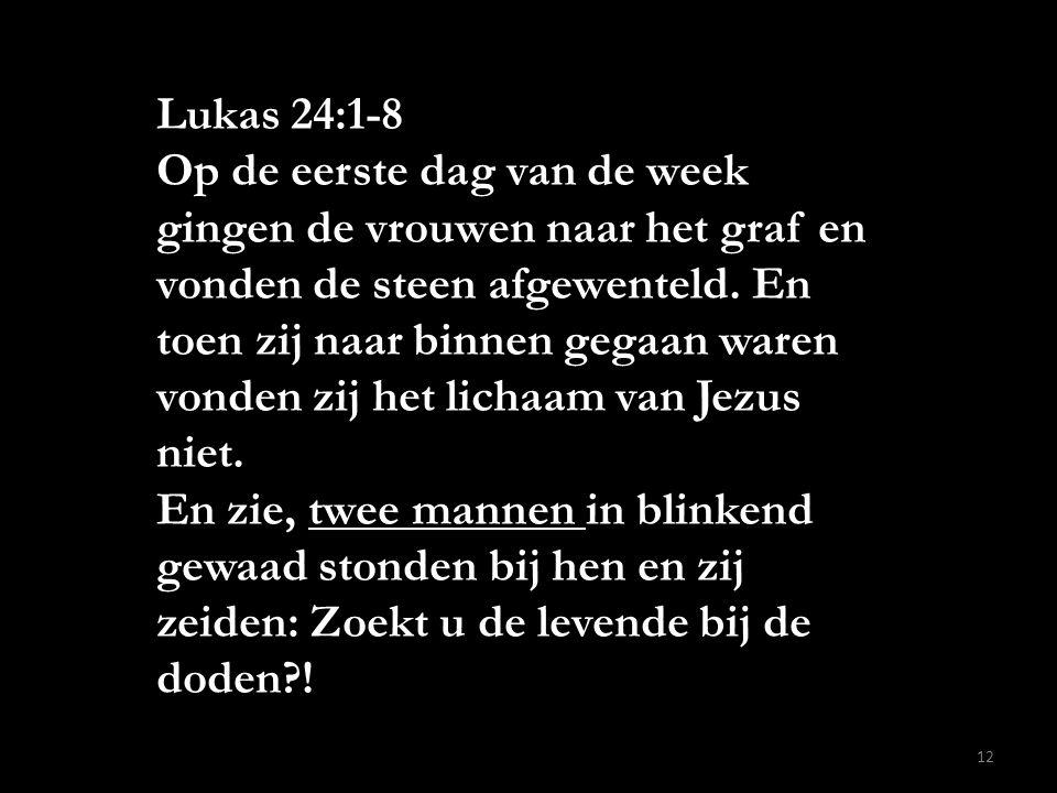 Lukas 24:1-8 Op de eerste dag van de week gingen de vrouwen naar het graf en vonden de steen afgewenteld. En toen zij naar binnen gegaan waren vonden