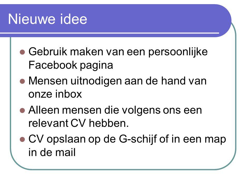 Nieuwe idee Gebruik maken van een persoonlijke Facebook pagina Mensen uitnodigen aan de hand van onze inbox Alleen mensen die volgens ons een relevant CV hebben.