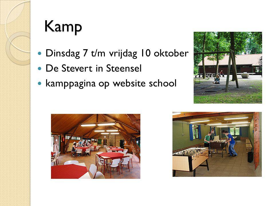 Kamp Kamp Dinsdag 7 t/m vrijdag 10 oktober De Stevert in Steensel kamppagina op website school