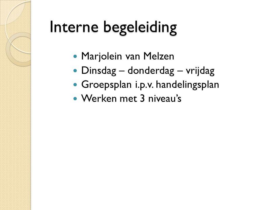 Interne begeleiding Interne begeleiding Marjolein van Melzen Dinsdag – donderdag – vrijdag Groepsplan i.p.v.