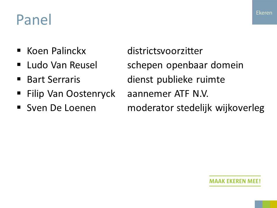  Koen Palinckxdistrictsvoorzitter  Ludo Van Reuselschepen openbaar domein  Bart Serrarisdienst publieke ruimte  Filip Van Oostenryckaannemer ATF N.V.
