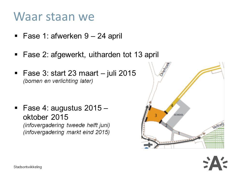 Stadsontwikkeling  Fase 1: afwerken 9 – 24 april  Fase 2: afgewerkt, uitharden tot 13 april  Fase 3: start 23 maart – juli 2015 (bomen en verlichti