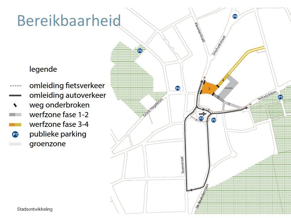 Stadsontwikkeling Bereikbaarheid  9 – 24 april  Aanleg kruispunten met Veltwijcklaan  Germinalstraat  Villapark & Alfons Jeurissenstraat  Veltwijcklaan onderbroken  Omleiding voorzien (uitgezonderd plaatselijk verkeer)