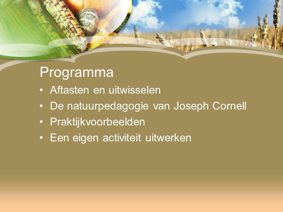 Programma Aftasten en uitwisselen De natuurpedagogie van Joseph Cornell Praktijkvoorbeelden Een eigen activiteit uitwerken