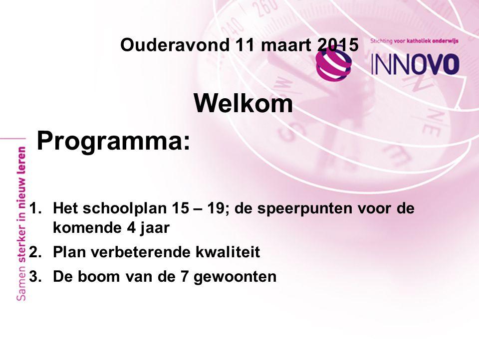 Ouderavond 11 maart 2015 Welkom Programma: 1.Het schoolplan 15 – 19; de speerpunten voor de komende 4 jaar 2.Plan verbeterende kwaliteit 3.De boom van
