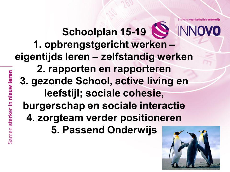 Schoolplan 15-19 1. opbrengstgericht werken – eigentijds leren – zelfstandig werken 2. rapporten en rapporteren 3. gezonde School, active living en le