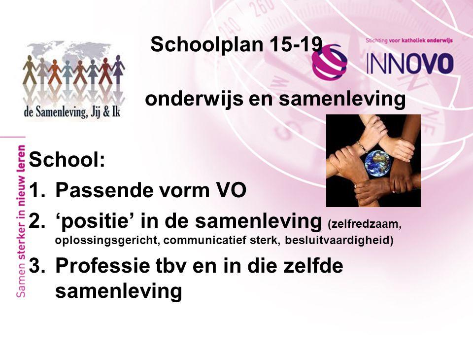 Schoolplan 15-19 onderwijs en samenleving School: 1.Passende vorm VO 2.'positie' in de samenleving (zelfredzaam, oplossingsgericht, communicatief ster