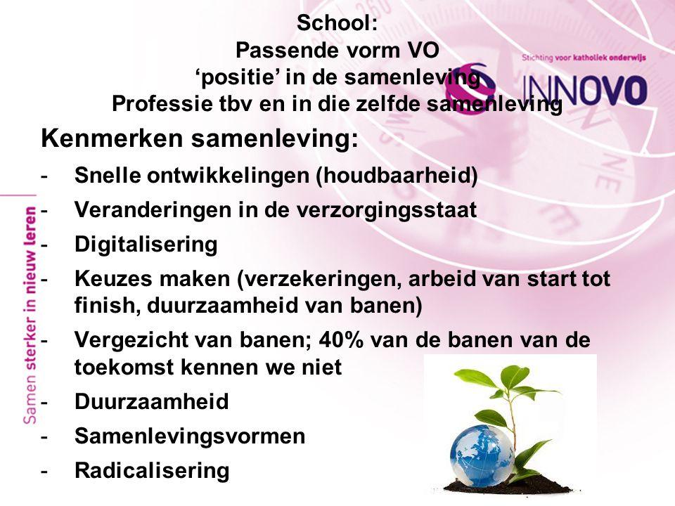 School: Passende vorm VO 'positie' in de samenleving Professie tbv en in die zelfde samenleving Kenmerken samenleving: -Snelle ontwikkelingen (houdbaa
