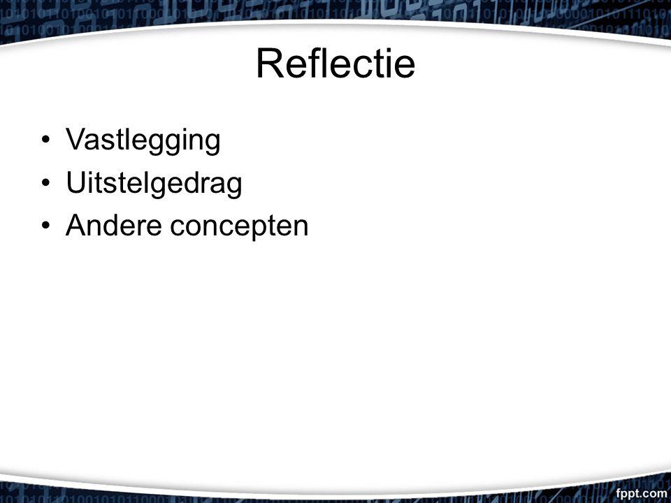 Reflectie Vastlegging Uitstelgedrag Andere concepten