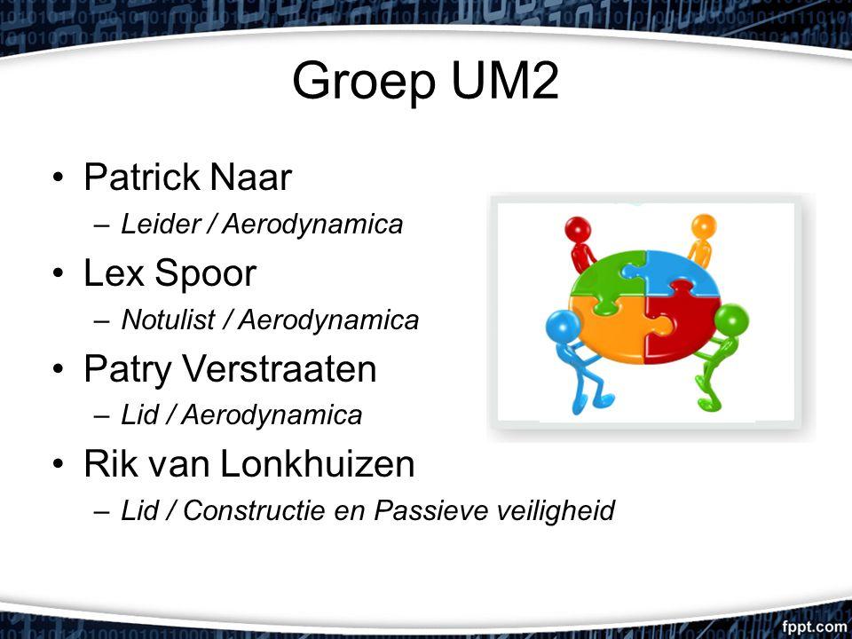 Groep UM2 Patrick Naar –Leider / Aerodynamica Lex Spoor –Notulist / Aerodynamica Patry Verstraaten –Lid / Aerodynamica Rik van Lonkhuizen –Lid / Constructie en Passieve veiligheid