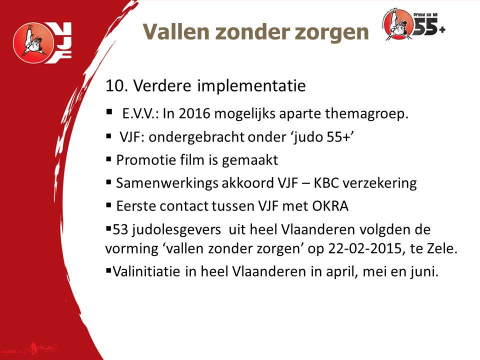 Vallen zonder zorgen 10.Verdere implementatie  E.V.V.: In 2016 mogelijks aparte themagroep.