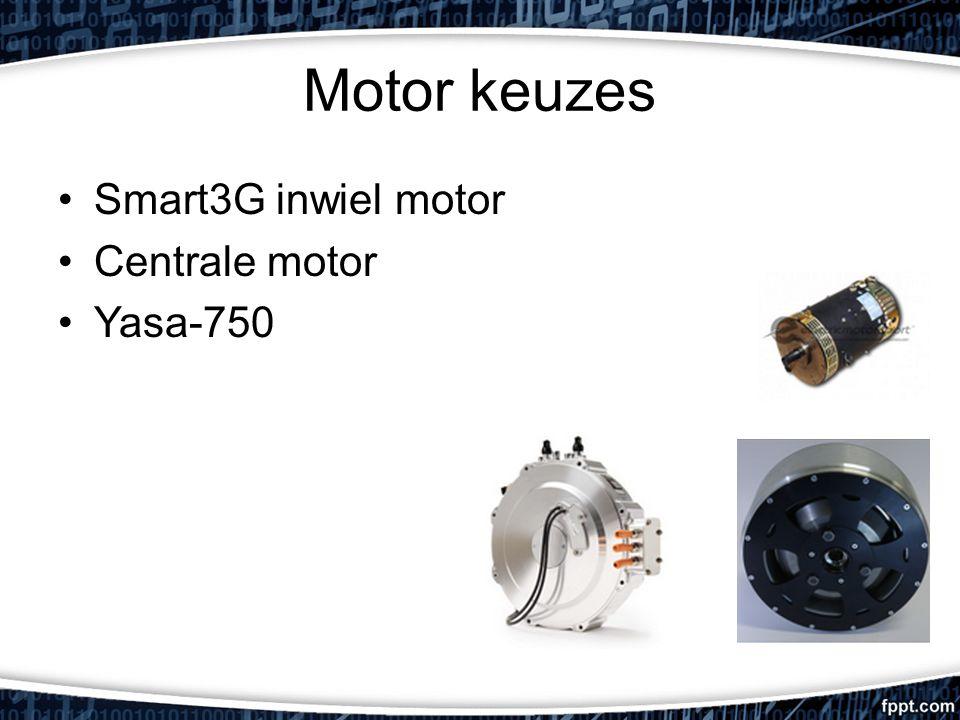 Motor keuzes Smart3G inwiel motor Centrale motor Yasa-750