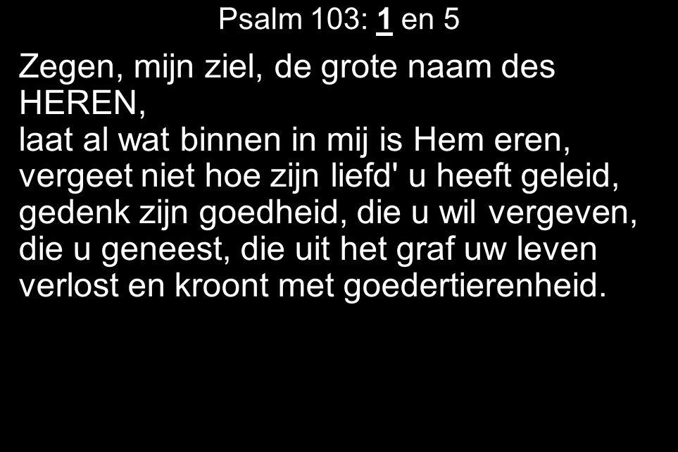 Psalm 103: 1 en 5 Zegen, mijn ziel, de grote naam des HEREN, laat al wat binnen in mij is Hem eren, vergeet niet hoe zijn liefd u heeft geleid, gedenk zijn goedheid, die u wil vergeven, die u geneest, die uit het graf uw leven verlost en kroont met goedertierenheid.