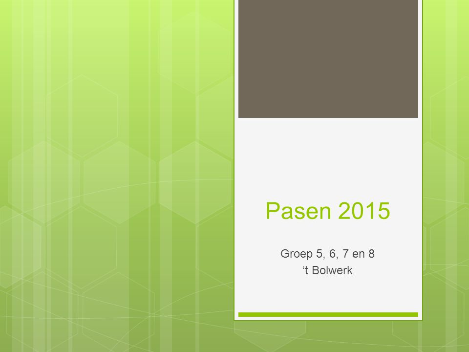 Paasviering 2015 't Bolwerk Onze paasviering bestaat uit een aantal liedjes, een gebed, een gedicht en natuurlijk het paasverhaal.