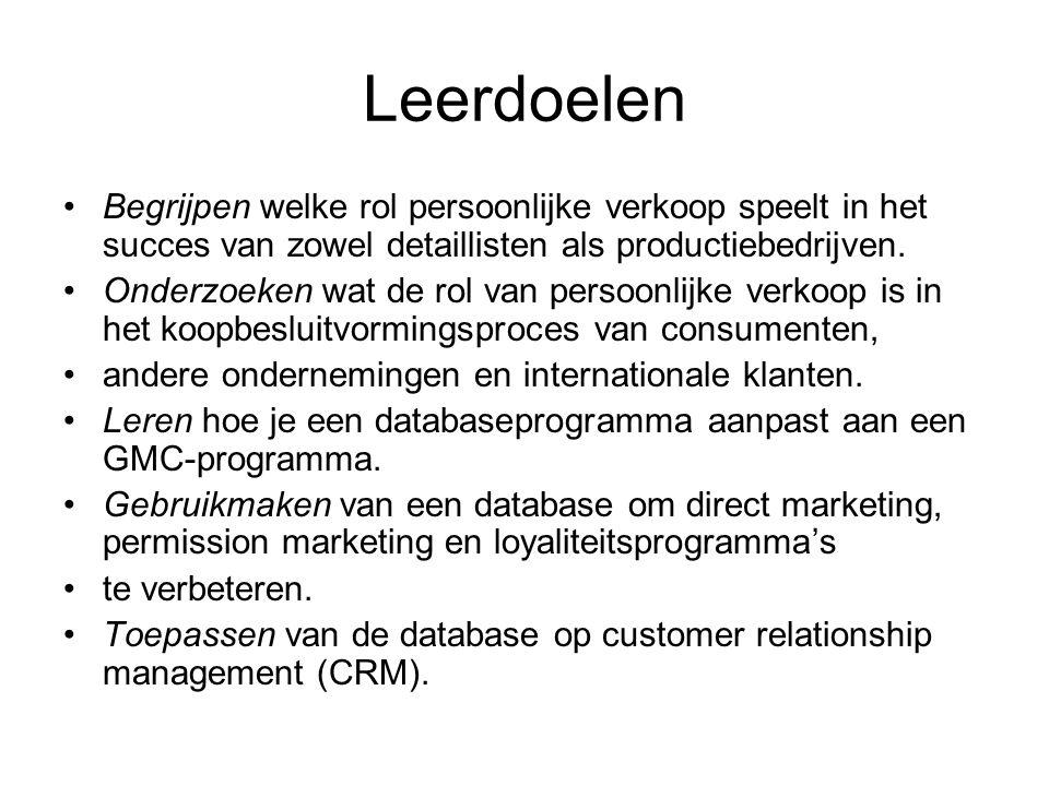 Leerdoelen Begrijpen welke rol persoonlijke verkoop speelt in het succes van zowel detaillisten als productiebedrijven. Onderzoeken wat de rol van per
