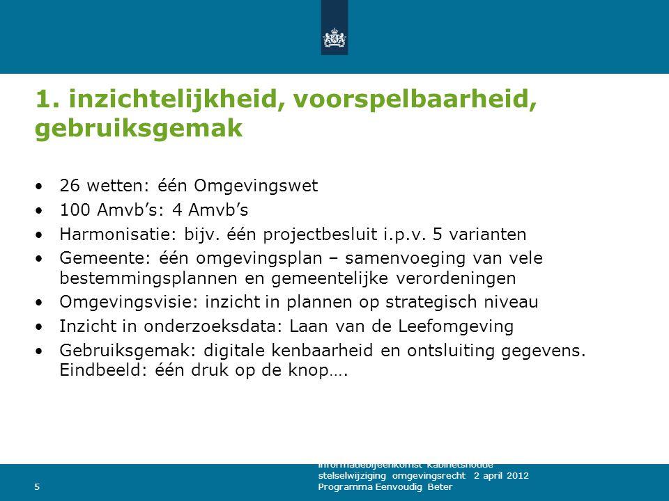 1. inzichtelijkheid, voorspelbaarheid, gebruiksgemak 26 wetten: één Omgevingswet 100 Amvb's: 4 Amvb's Harmonisatie: bijv. één projectbesluit i.p.v. 5