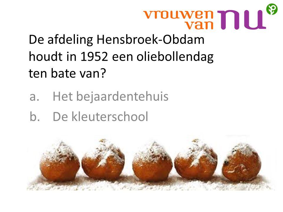 De afdeling Hensbroek-Obdam houdt in 1952 een oliebollendag ten bate van.