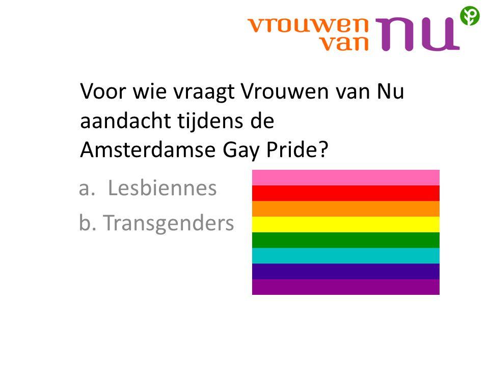 Voor wie vraagt Vrouwen van Nu aandacht tijdens de Amsterdamse Gay Pride.