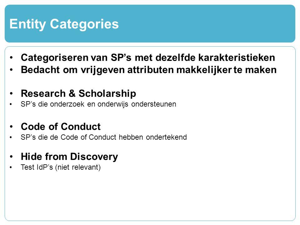 Entity Categories Categoriseren van SP's met dezelfde karakteristieken Bedacht om vrijgeven attributen makkelijker te maken Research & Scholarship SP's die onderzoek en onderwijs ondersteunen Code of Conduct SP's die de Code of Conduct hebben ondertekend Hide from Discovery Test IdP's (niet relevant)