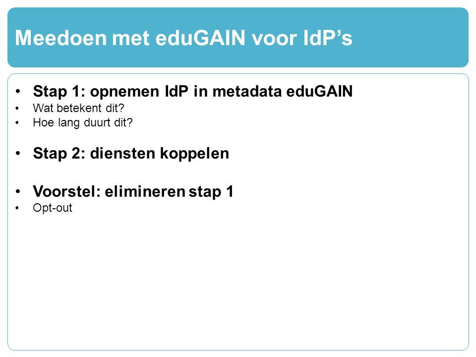 Meedoen met eduGAIN voor IdP's Stap 1: opnemen IdP in metadata eduGAIN Wat betekent dit.