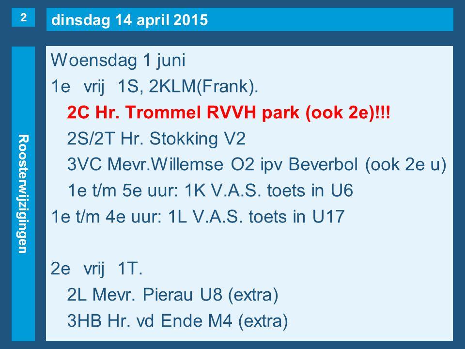 dinsdag 14 april 2015 Roosterwijzigingen Woensdag 1 juni 1evrij1S, 2KLM(Frank).