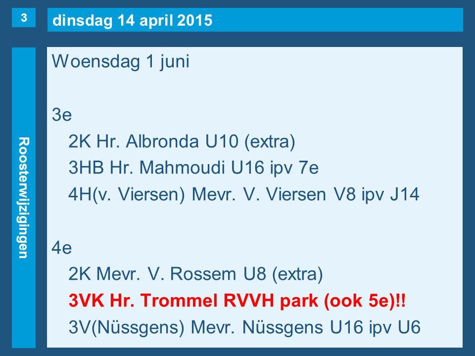 dinsdag 14 april 2015 Roosterwijzigingen Woensdag 1 juni 3e 2K Hr. Albronda U10 (extra) 3HB Hr. Mahmoudi U16 ipv 7e 4H(v. Viersen) Mevr. V. Viersen V8