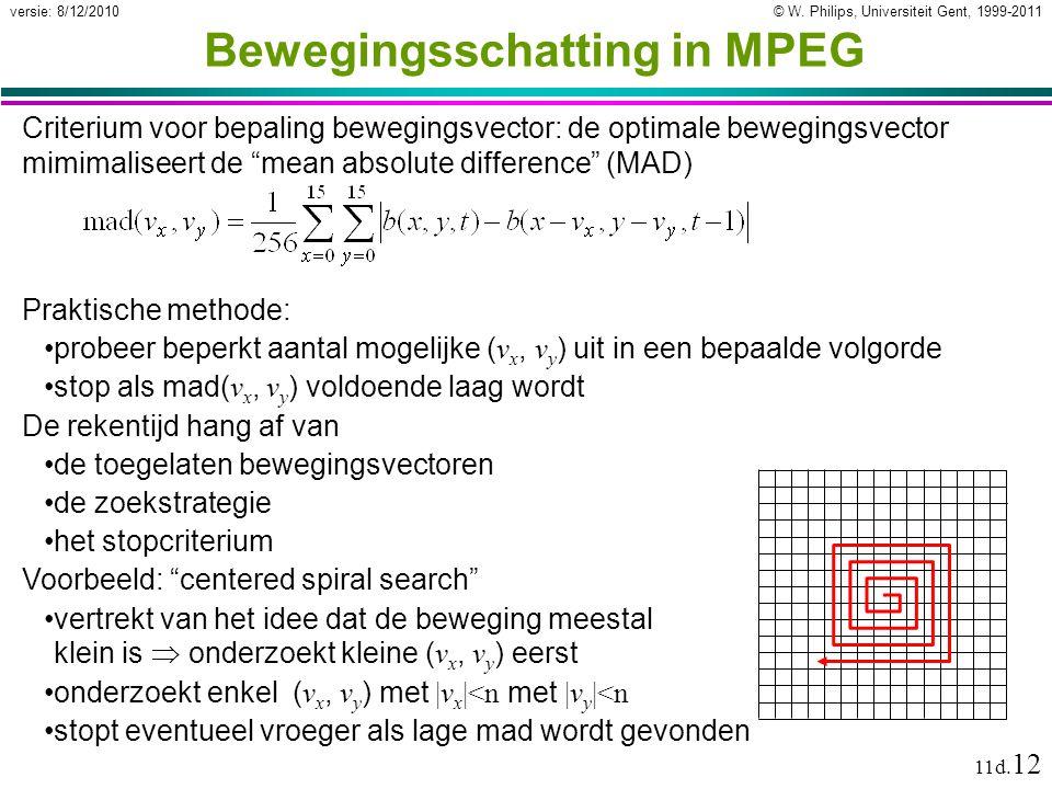 © W. Philips, Universiteit Gent, 1999-2011versie: 8/12/2010 11d. 12 Bewegingsschatting in MPEG Criterium voor bepaling bewegingsvector: de optimale be