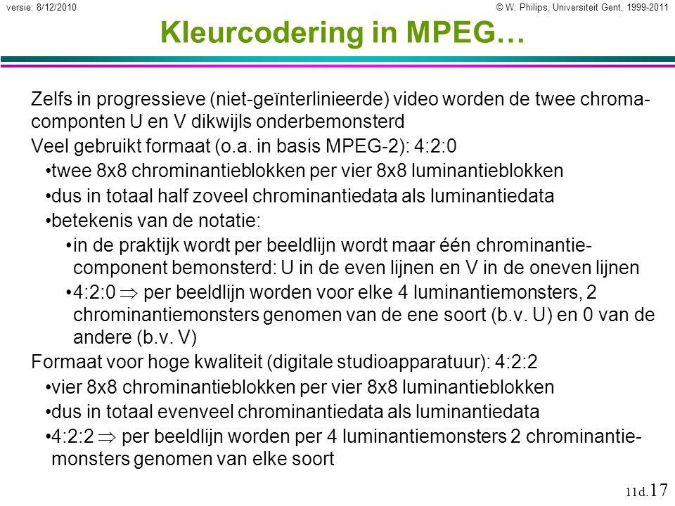 © W. Philips, Universiteit Gent, 1999-2011versie: 8/12/2010 11d. 17 Kleurcodering in MPEG… Zelfs in progressieve (niet-geïnterlinieerde) video worden