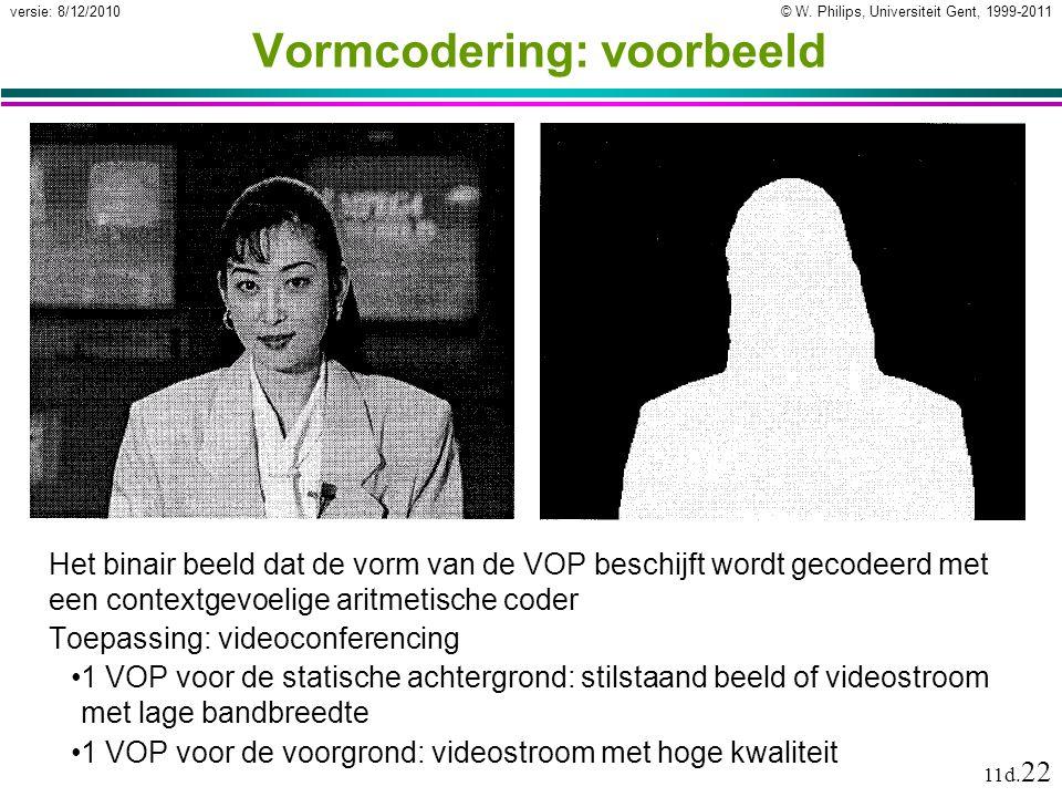 © W. Philips, Universiteit Gent, 1999-2011versie: 8/12/2010 11d. 22 Vormcodering: voorbeeld Het binair beeld dat de vorm van de VOP beschijft wordt ge