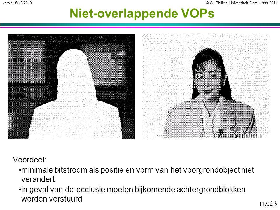 © W. Philips, Universiteit Gent, 1999-2011versie: 8/12/2010 11d. 23 Niet-overlappende VOPs Voordeel: minimale bitstroom als positie en vorm van het vo