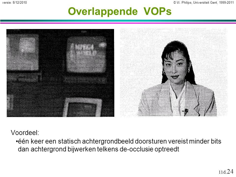 © W. Philips, Universiteit Gent, 1999-2011versie: 8/12/2010 11d. 24 Overlappende VOPs Voordeel: één keer een statisch achtergrondbeeld doorsturen vere