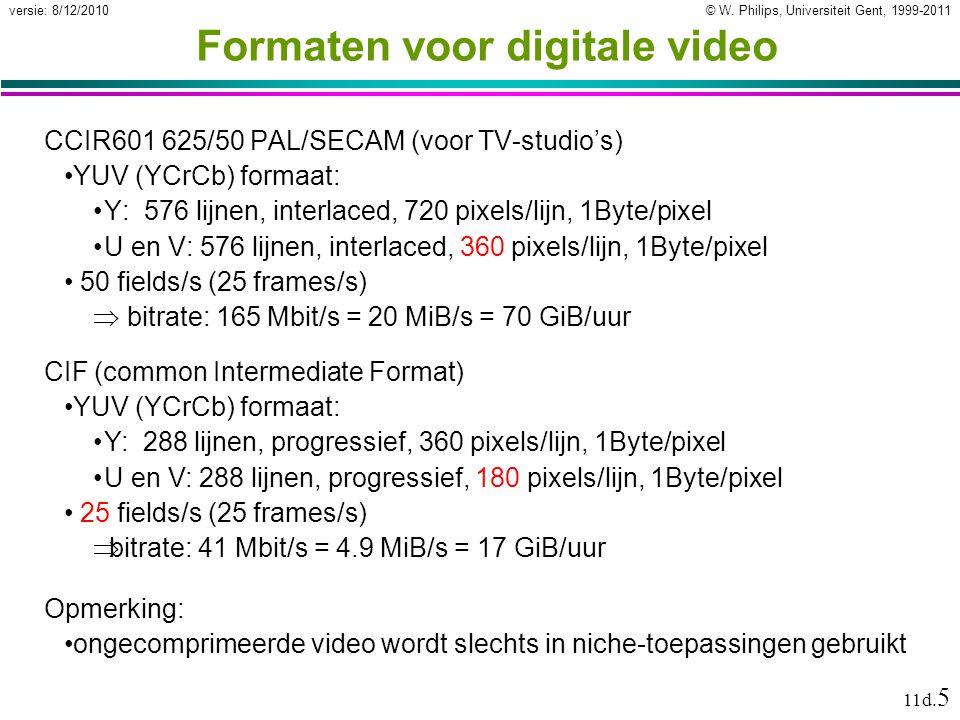 © W. Philips, Universiteit Gent, 1999-2011versie: 8/12/2010 11d. 5 Formaten voor digitale video CCIR601 625/50 PAL/SECAM (voor TV-studio's) YUV (YCrCb