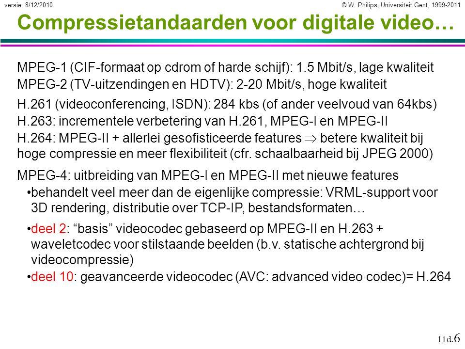 © W. Philips, Universiteit Gent, 1999-2011versie: 8/12/2010 11d. 6 Compressietandaarden voor digitale video… MPEG-1 (CIF-formaat op cdrom of harde sch
