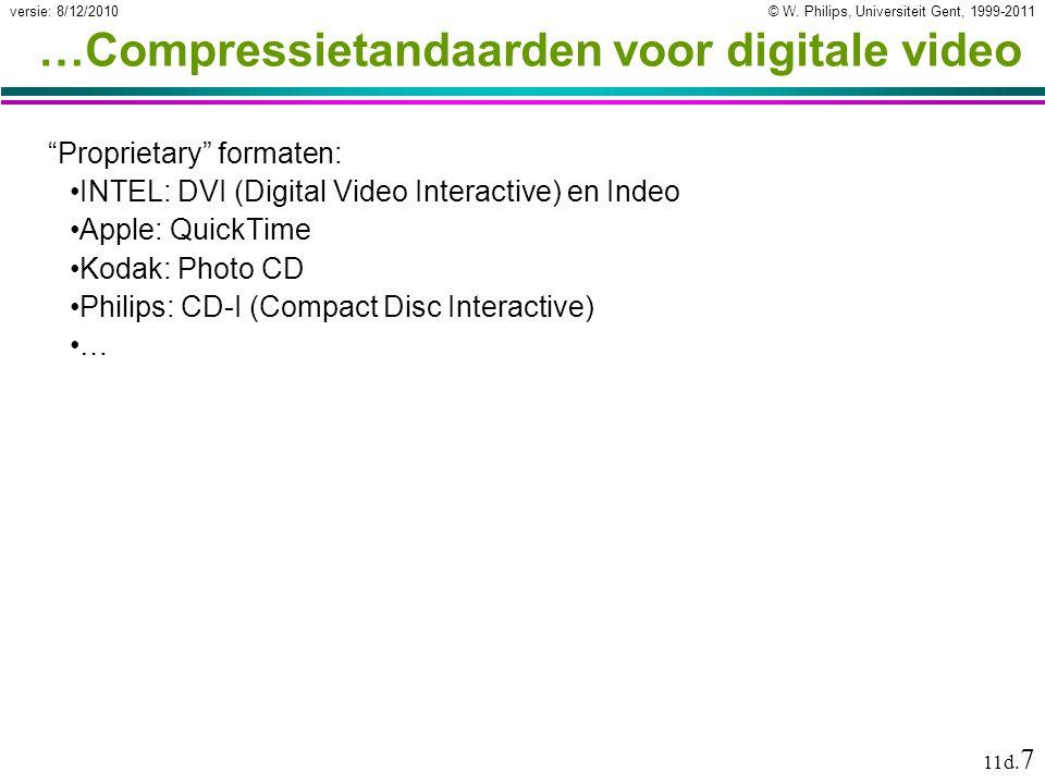 """© W. Philips, Universiteit Gent, 1999-2011versie: 8/12/2010 11d. 7 …Compressietandaarden voor digitale video """"Proprietary"""" formaten: INTEL: DVI (Digit"""