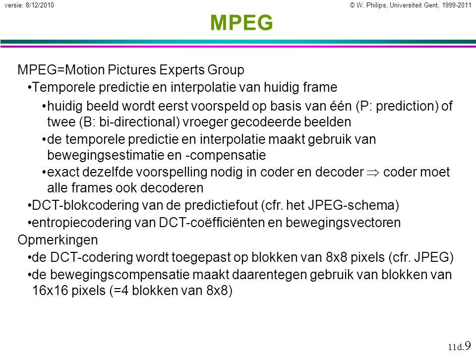 © W. Philips, Universiteit Gent, 1999-2011versie: 8/12/2010 11d. 9 MPEG MPEG=Motion Pictures Experts Group Temporele predictie en interpolatie van hui