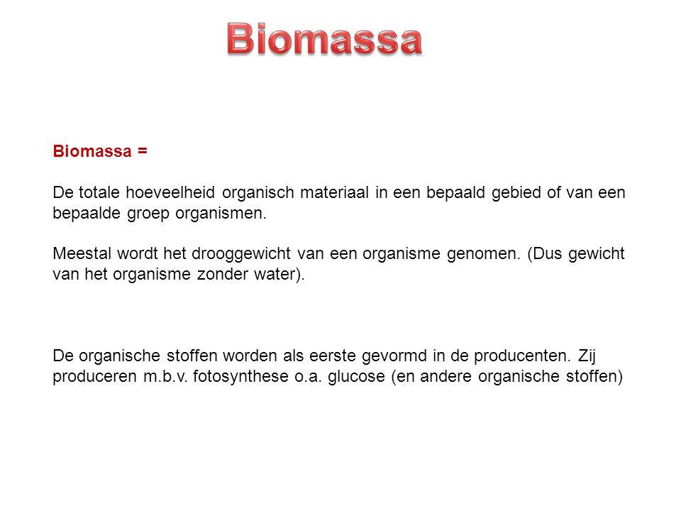 Biomassa = De totale hoeveelheid organisch materiaal in een bepaald gebied of van een bepaalde groep organismen. Meestal wordt het drooggewicht van ee