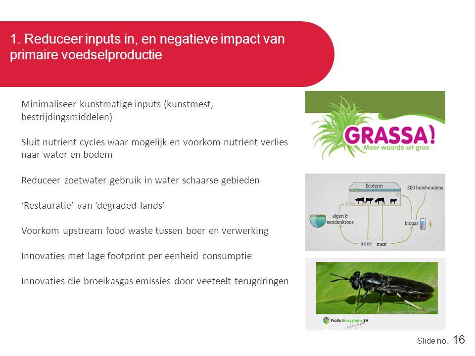 Slide no. 16 1. Reduceer inputs in, en negatieve impact van primaire voedselproductie Minimaliseer kunstmatige inputs (kunstmest, bestrijdingsmiddelen