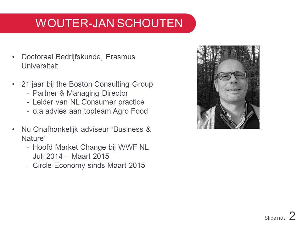 Slide no. 2 WOUTER-JAN SCHOUTEN Doctoraal Bedrijfskunde, Erasmus Universiteit 21 jaar bij the Boston Consulting Group -Partner & Managing Director -Le