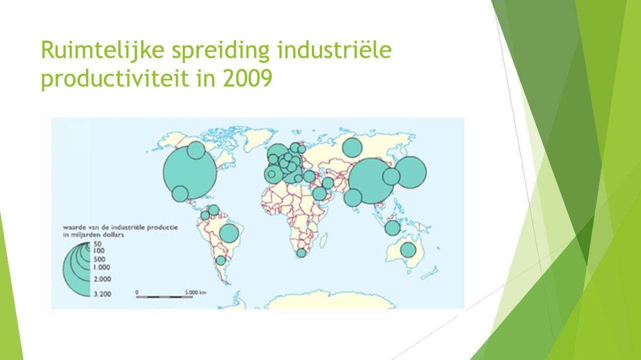 Ruimtelijke spreiding industriële productiviteit in 2009