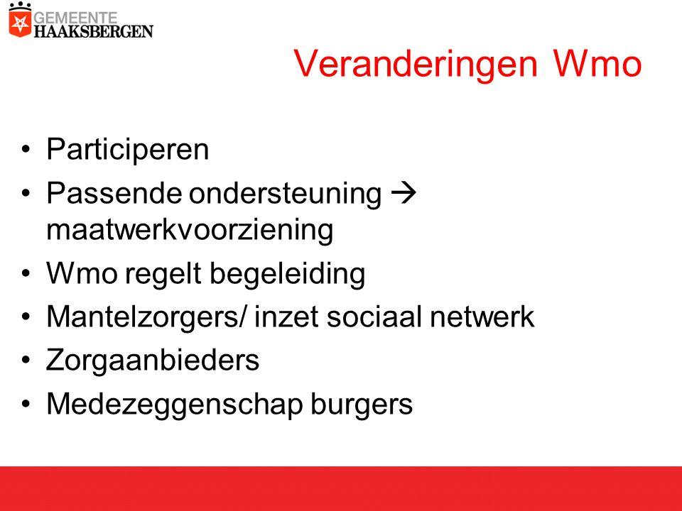 Veranderingen Wmo Participeren Passende ondersteuning  maatwerkvoorziening Wmo regelt begeleiding Mantelzorgers/ inzet sociaal netwerk Zorgaanbieders Medezeggenschap burgers