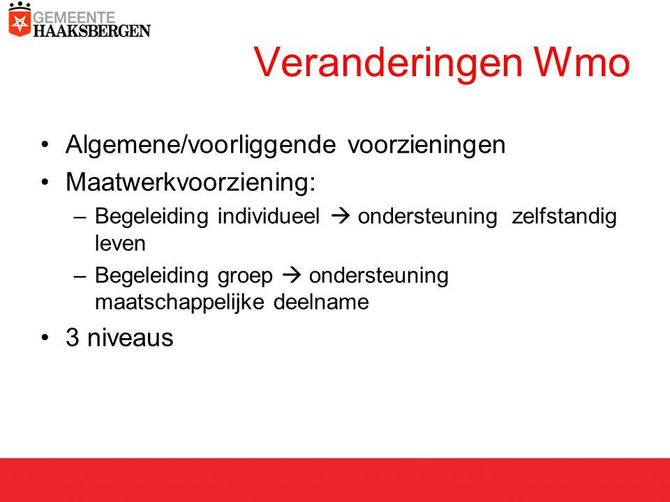 Veranderingen Wmo Algemene/voorliggende voorzieningen Maatwerkvoorziening: –Begeleiding individueel  ondersteuning zelfstandig leven –Begeleiding groep  ondersteuning maatschappelijke deelname 3 niveaus