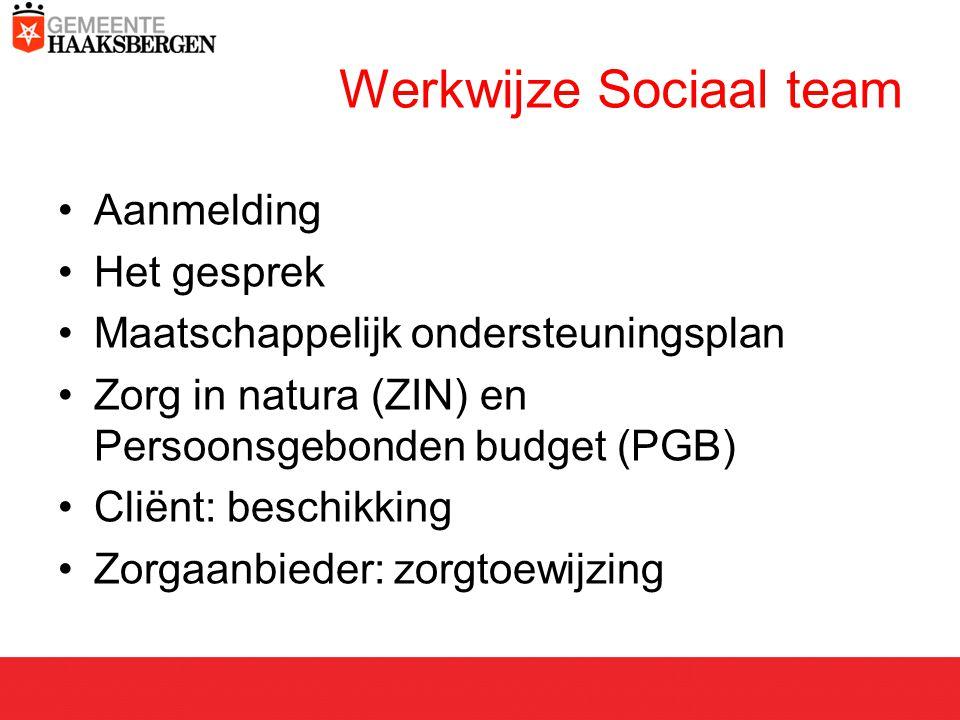 Werkwijze Sociaal team Aanmelding Het gesprek Maatschappelijk ondersteuningsplan Zorg in natura (ZIN) en Persoonsgebonden budget (PGB) Cliënt: beschikking Zorgaanbieder: zorgtoewijzing